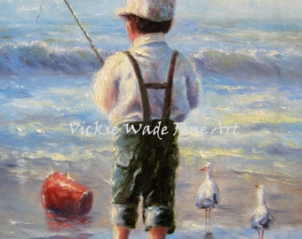 Little Beach Boy Art Print, beach boy, prints, blue, ocean, beach, children, fishing, sand, pail, seagulls, wall art, Vickie Wade Art