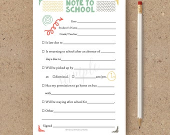 Fill in School Notes / Back to School Notes / Printable Notepad / Instant Download / PRINTABLE / #085