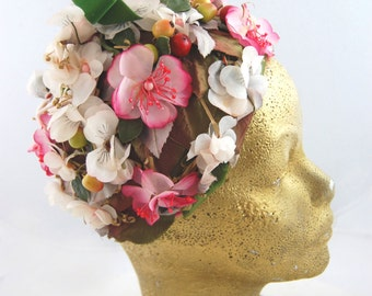 60s flower and fruit hat - green white fuchsia hat - Floral Hat - 1960s floral hat