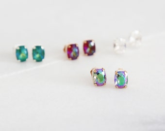 Tiny Baguette Sparkling Swarovski Studs - Four color choices