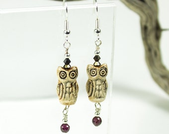 Cute Ceramic owl Earrings, Swarovski jewelry crystals and Garnet, Rustic Boho Jewelry, Beaded Earrings, Boho Owls, Woodland Earring Modern