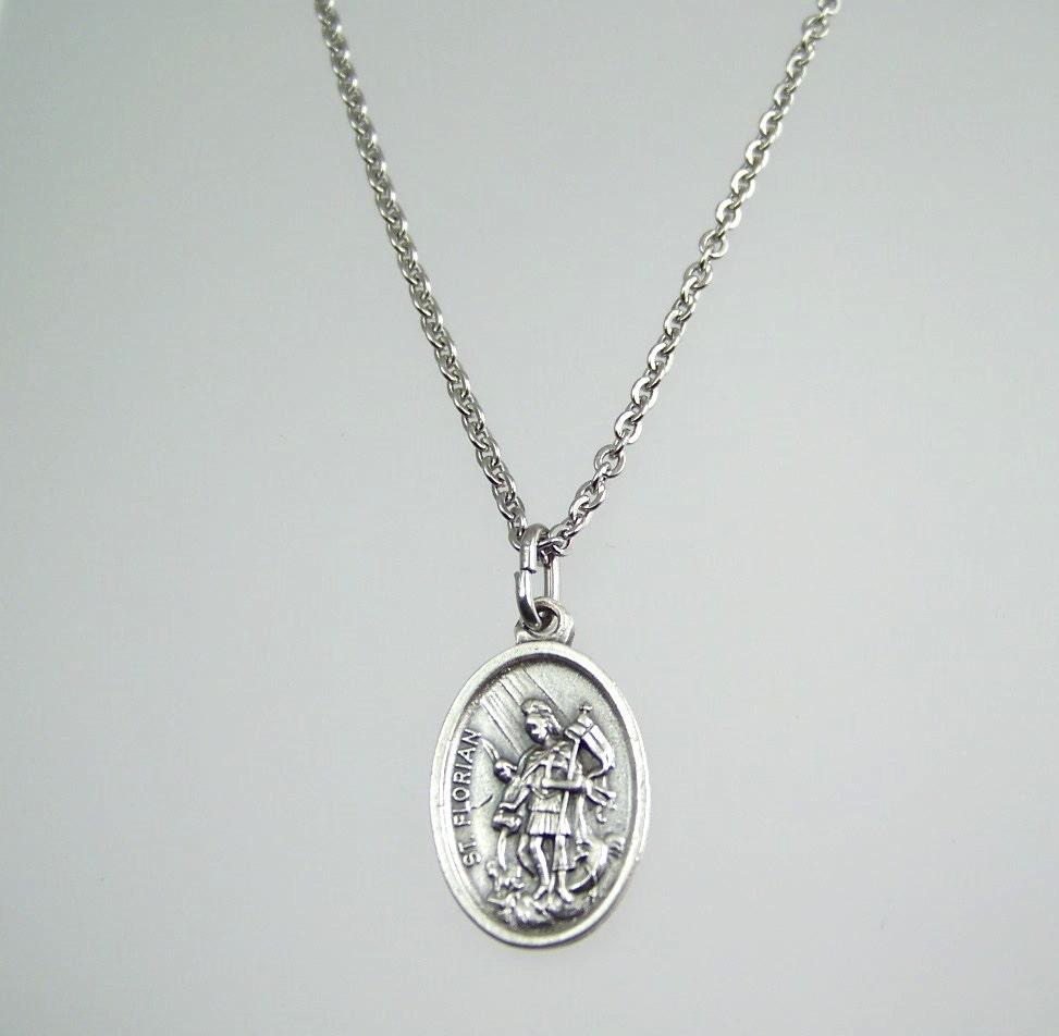 St Florian Necklace: Saint Florian Medal Necklace