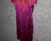 Vintage Crinkle- Dyed Purple Satin Short Goth Dress with Boning and Red Lace Collar