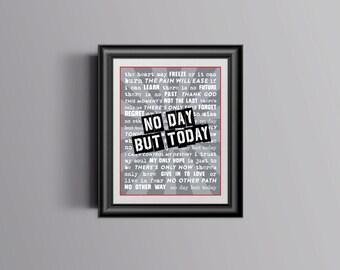 Broadway RENT Lyrics Poster / Print - No Day But Today