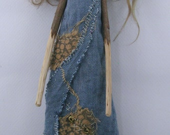 Cloth and paperclay folk art doll stick legs and arms ooak sculpted LilaBelle