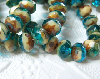 Czech capri blue and cream 8x6mm picasso finished rondell bead mix of (12) - CZ144