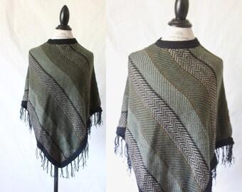 Vintage Soft Sweater Knit Fringe Poncho Free Size