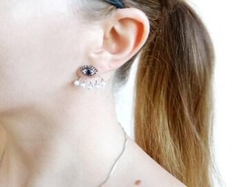 Sterling Silver Ear Jacket Earrings, Pearl Ear Jackets, Evil Eye Stud Earrings