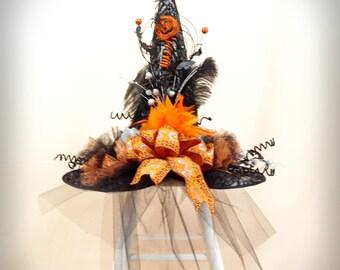 Witch Hat * Black and Orange Witch Hat * Elegant Witch Hat * Wicked Witch Hat * Wicca * Halloween Decor * Witch Costume * Black Witch Hat