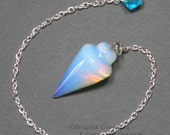Opalite Smooth Cone Crystal Pendulum w/ Czech Crystal Finger Grip, SSP11