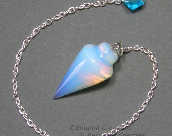 Opalite Smooth Cone Crystal Pendulum w/ Czech Crystal Finger Grip, >>>SECONDS<<<, SSP19