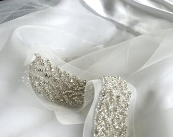 Bridal Sashes and Belts, Classic Double Braid Wedding Belt, Rhinestone Rope Wedding Sash, STYLE TRESSE DEUX  in Ivory or White