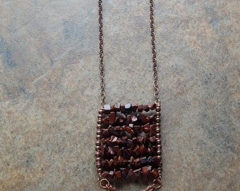 Structural jewelry,  brown spotted jasper, ladder necklace, long boho layering necklace, modern, tribal, copper statement necklace,leaves