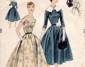 1950s Womens Dress Pattern - Vintage Vogue 8535 - B36 - New Look Scoop Neck Dress with Full Pleated Skirt and Puritan Collar