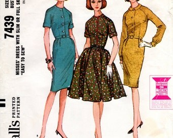1960s Shirtwaist with Full or Slim Skirt - Vintage Pattern McCall's 7439 - B32