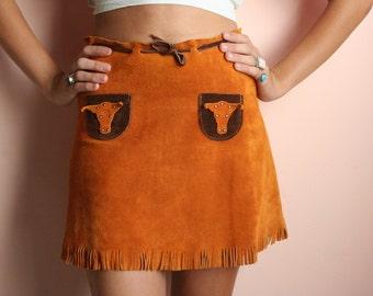 60's Mini Skirt / Copper Brown Festival Skirt / Steer Studded Pockets / Leather Mod Skirt / Haute Hippie Mini Skirt / Sixties Mini Skirt