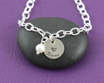 SALE - Personalized Name Bracelet - Bridesmaid Bracelet - Silver Bracelet - Bridesmaid Gift -Dainty Charm Bracelet-Flower Girl Bracelet
