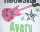 Girl's Rockstar Shirt or Bodysuit in lime, black and fuchsia with zebra star Size Newborn 3 mo 6 mo 9 mo 18 mo 24 mo 2t 3t 4t 5 6 8 10 12