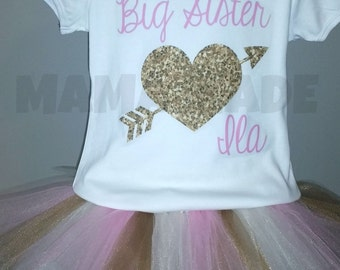 Gold, Ivory and Pink Big Sister Tutu Set with Bodysuit and headband Big Sister Tutu Set Pink and Gold Big Sister Set Sibling Tutu Sets