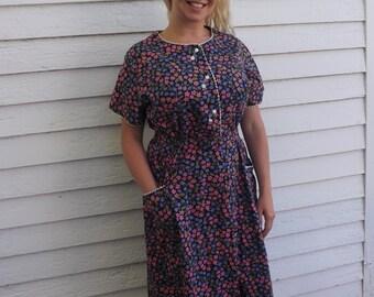 60s Black Floral Dress Print Cotton Blue Pink Plus Vintage 46 Bust 38 Waist