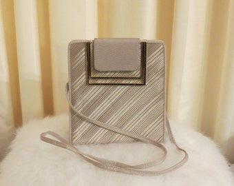 Vintage 70s 80s Beige Satin Pleated Convertible Box Handbag Shoulder Bag Clutch Evening Purse