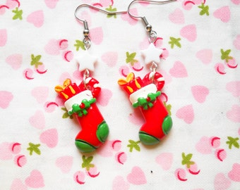 Kawaii Christmas Earrings, Christmas Earrings, Stocking Earrings, Christmas Stockings, Winter Earrings, Christmas, Kawaii Earrings, Cute