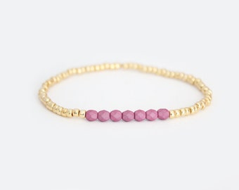 Lavender and Gold Beaded Bracelet - Navi