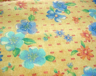 Vintage 70s Floral Fabric -Yellow Robin Egg Blue Aqua Periwinkle Peach Coral - Clothing Apparel Decorator Home Decor Textured like Barkcloth