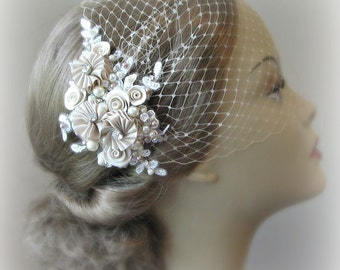 Champagne Bird Cage Veil and Lace Fascinator Set, Ivory, White or Champagne, Bridal Fascinator, Bandeau Veil with Crystals, Pearls - ODETTE