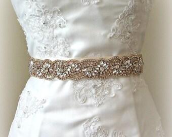 "Rose Gold Crystal Bridal Sash, Wedding Belt, Rhinestone Bridal Sash, 24"" of Rhinestones - LYNAE"