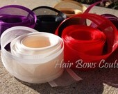 Pick Color - 5  yds. 1 1/2 inch  Sheer Organza Ribbon with Satin Edge  Ribbon -Ivory, Red, Black, Plum, Wine, Gold Organza Sheer Ribbon