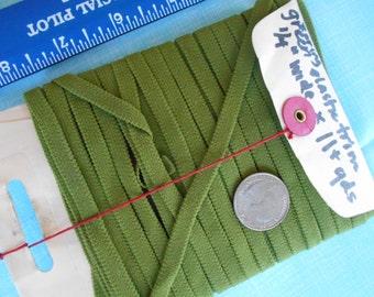 1/4 inch wide Flat Avocado Green swimsuit Elastic trim  11 plus yards