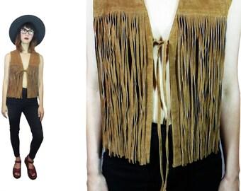 90's does 70's women's BOHO suede leather FRINGE vest S / M