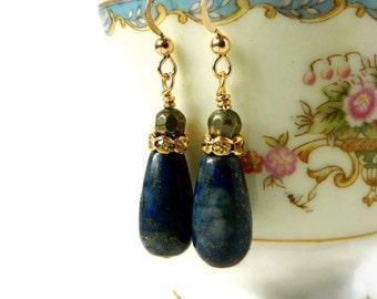 Pyrite & Lapis Earrings Lapis Lazuli Earrings Gold Filled Indigo Teardrop Sapphire Dark Blue Drops Lapis Jewelry September Birthstone Gift
