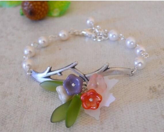 Free Shipping- Bridget  Bracelet - Branch bracelet , silver,White pearls, flowers