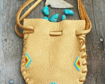 Beaded leather bag ,  Buckskin medicine pouch ,  Beaded fetish bag , Drawstring pouch