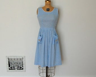 Vintage 50s Dress - 1950s Gingham Dress - The Addy