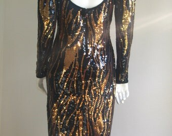 70s 80s vtg sequin bronze and black party dress