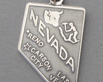 Sterling Silver .925 Charm Pendant NEVADA State Map SC627