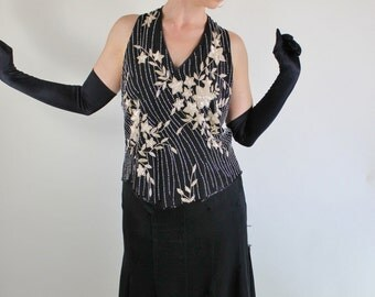 80s does 20s Black Cream Beaded Sequined Flapper Style Glam Top, Vintage, Size Medium, FREE SHIPPING