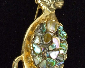 Vintage Gold Tone Albalone Shell Jelly Belly Cat Kitty Brooch Retro Kitsch Cutey ATCTTEAM