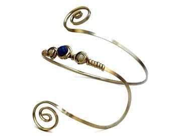 Silver Armband, Boho Armlet, Bridesmaid Arm Cuff, Upper Arm Band, Upper Arm Bangle, Spiral Arm Bracelet, Stone Arm Cuff, Wedding Accesories