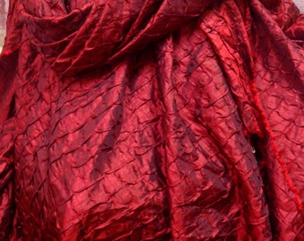 Red Faux Silk - Red Diamond Pleated Poly Silk - Red Christmas Fabric - Red Silk Fabric - Faux Silk - 1 yard Diamond Pleated Faux Silk