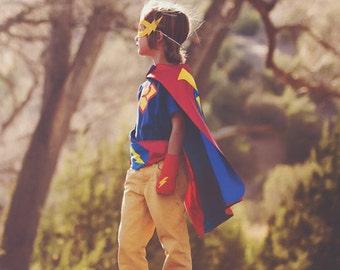 Childrens Super Hero Cape Set - Superhero Halloween Costume for Kids - Includes superhero cape plus 3 accessories - 10 choices - Dressup