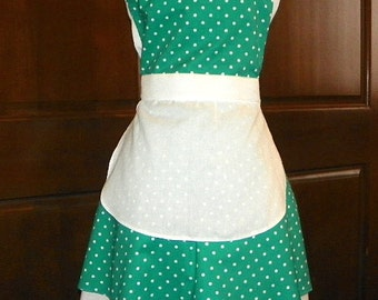 French Maid Apron Green with White Dots Handmade for you to use during your cleaning, cooking, entertaining activities