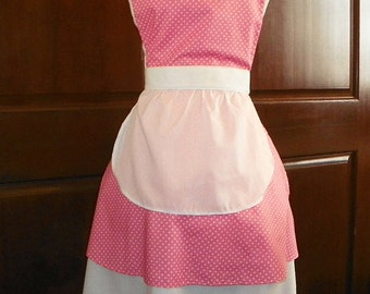 French Maid Apron Pink with White Dots Handmade for you to use during your cleaning, cooking, entertaining activities