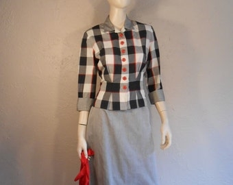 Power Luncheon Suits - Vintage 1940s 1950s Grey Black Red Check Plaid Suit - 6/8