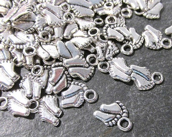 Baby Feet Charms 100 Silver 11mm Baby Feet Charms Drops New Old Stock One Hundred 11mm x 9mm Feet Charms Baby Shower Jewelry Supplies (R52)