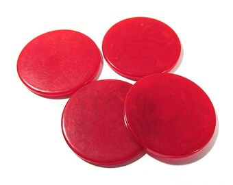 Bakelite Poker Chips Four (4) VINTAGE Marbled Cherry Red Bakelite Poker Chips Discs Red Vintage Jewelry Gaming Supplies (D131)
