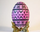 Pink Goose pysanka Ukrainian Easter egg hand painted batik technique with hot beeswax ~ thoughtful gift for newlyweds and parents soon to be